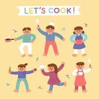 Süße Kinder freuen sich über das Kochen vektor