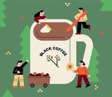 Leute, die Kaffee im riesigen Becher machen