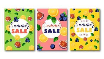 Sommerschlussverkaufflieger eingestellt mit hellen bunten Früchten