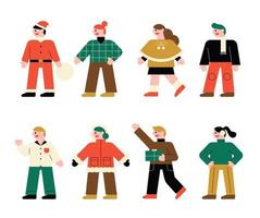 Charaktere für die Weihnachtsfeier vektor