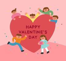 Nette Kinder um ein großes Herz für Valentinstag vektor