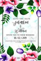 Blommig bröllopinbjudankort för akvarell