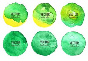 Grön akvarellcirkeluppsättning på vit bakgrund