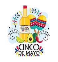 tequila mit maracas und avocado für cinco de mayo vektor