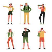 Ungdomar i vandringsutrustning vektor
