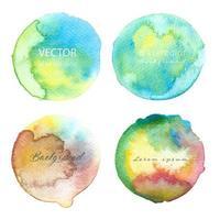 Mehrfarbiger Aquarell-Kreis-Satz vektor