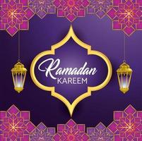 Etikett mit Lampen hängen für Ramadan Kareem Feier