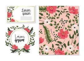Satz von Karte und Etikett mit exotischen Blüten und Blättern
