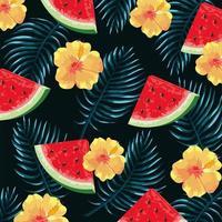 tropische Blumen mit Wassermelonen- und Blatthintergrund vektor