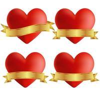 Uppsättning av hjärta ikoner med emblem vektor