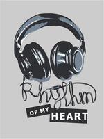 Rhythmus-Slogan mit Kopfhörerdrahtillustration