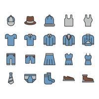 Kläder och tillbehör relaterade ikonuppsättning