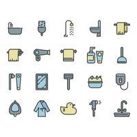Badrum relaterade ikonuppsättning
