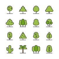 Träd Ikonuppsättning vektor