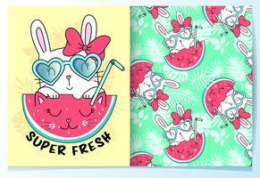 Hand gezeichnetes nettes Kaninchen mit Sonnenbrille und Wassermelonenmustersatz