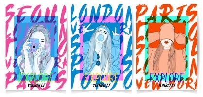 Handritade flickor i olika poser med typografioppsättningen vektor
