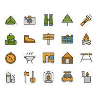 Camping och resorelaterade ikonuppsättning