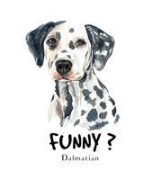 Akvarell handritad porträtt av den dalmatiska hunden vektor