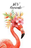 Akvarellflamingo med tropisk bukett på huvudet