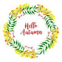 Vacker akvarell Autumn Leaves Krans