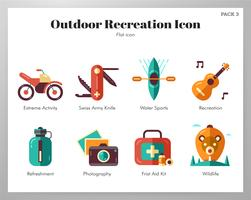 Outdoor-Erholung Icons Flat Pack vektor
