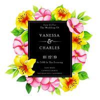 Blommig bröllopinbjudningskort för akvarell