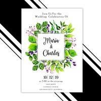 Akvarell lämnar bröllopinbjudankort