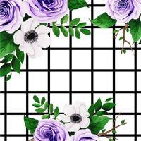 Akvarell blommig bakgrund med ränder