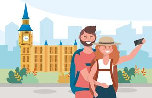 Kvinna och man som tar en bild i London