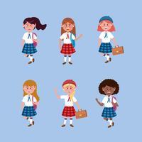 Uppsättning av kvinnliga studenter med uniform och ryggsäck vektor