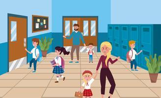 Schüler mit Mutter und Vater in der Schule vektor