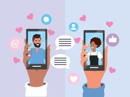 Två personer som rymmer smartphones med chattbubblor