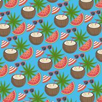 Kokosnussgetränk mit nahtlosem Hintergrund der Wassermelone und der Sonnenbrille vektor