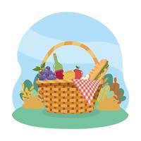 Picknickkorb mit Wein- und Lebensmittelweißhintergrund vektor