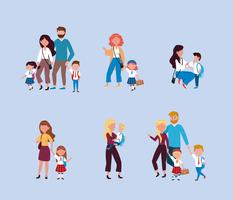 Set von Müttern und Vätern, die Kinder zur Schule bringen
