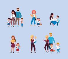Uppsättning av mödrar och fäder som tar barn till skolan vektor
