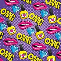 Pop-Art Lippen und Omg Nachricht nahtlose Muster