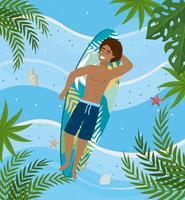 Mann, der auf Surfbrett legt