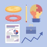 Reihe von Business-Strategie-Objekten vektor