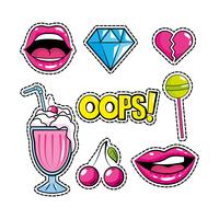 Pop-Art-Patch-Design festgelegt vektor