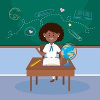 Flickastudent på skrivbordet med i klassrum vektor