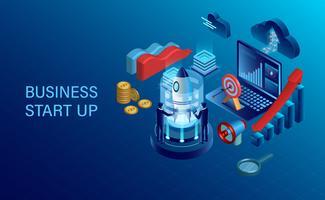 Startkonzept mit Geschäftsleuten, Rakete, Laptop und anderen Geschäftseinzelteilen