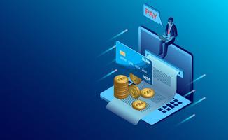 Mann sitzt auf großen Laptop mit Rechnung, Kreditkarte und Münzen