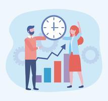 Geschäftsmann und Geschäftsfrau mit Uhr- und Statistikstange vektor