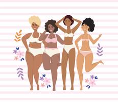 Kvinnor i underkläder med blommor
