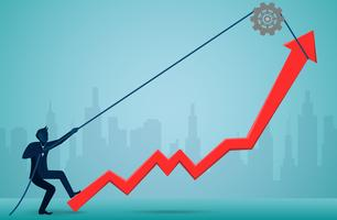 Geschäftsmänner, die Seil verwenden, um den roten Pfeil zu ziehen, um Richtung zu ändern