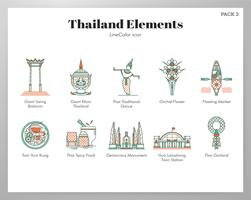 Thailand element LineColor pack vektor