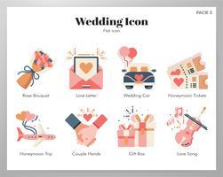 Bröllop ikoner set vektor