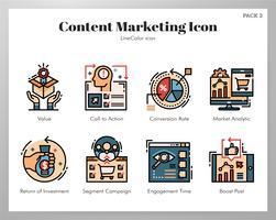 Ikoner för innehållsmarknadsföring vektor