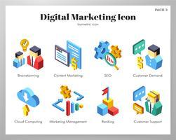 Ikoner för digital marknadsföring vektor